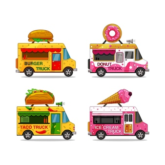 Un conjunto de camiones de comida sobre un fondo blanco aislado. hamburguesa, helado, rosquilla, taco.