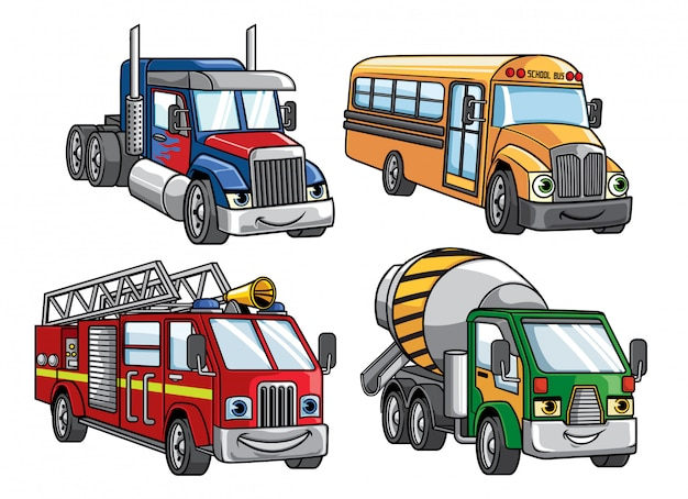 Conjunto de camiones de dibujos animados