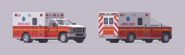 Conjunto de camiones de emergencia de ambulancia. carros de rescate aislados. vista lateral frontal y vista lateral trasera.