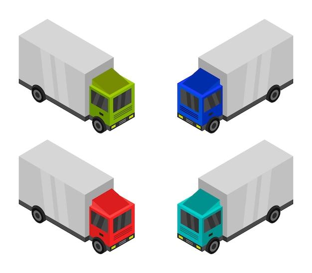 Conjunto de camiones isométricos