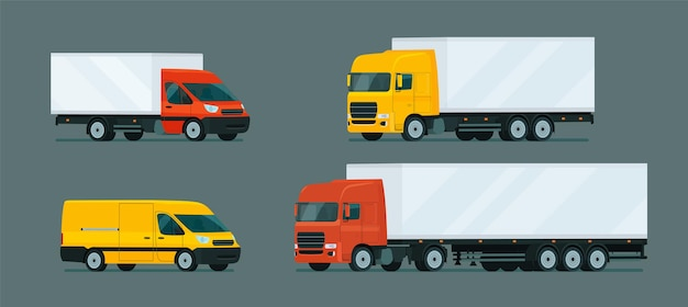 Conjunto de camiones ligeros y pesados.