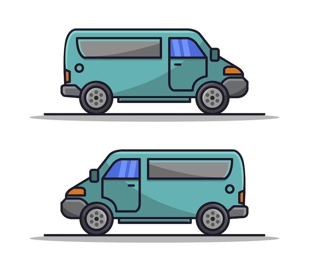 Conjunto de camioneta ilustrada de dibujos animados