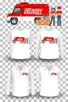 Conjunto de camiseta de maqueta con tema de entrega.