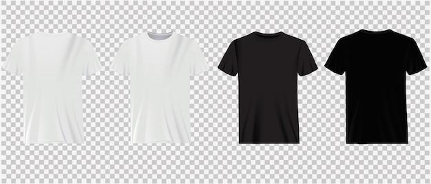Conjunto de camisetas blancas y negras aisladas