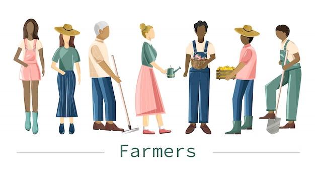 Conjunto de campesinos con diferentes ocupaciones y atuendos