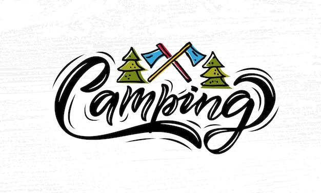 Conjunto de camping bosquejado a mano