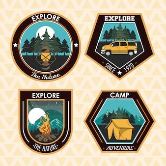 Conjunto de camping explorar parches de verano emblemas.