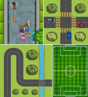 Conjunto de cancha de fútbol aérea y escena de carretera.