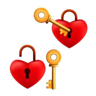Conjunto de candado en forma de corazón rojo de dibujos animados bloqueado y desbloqueado con llave de oro aislado sobre un fondo blanco.