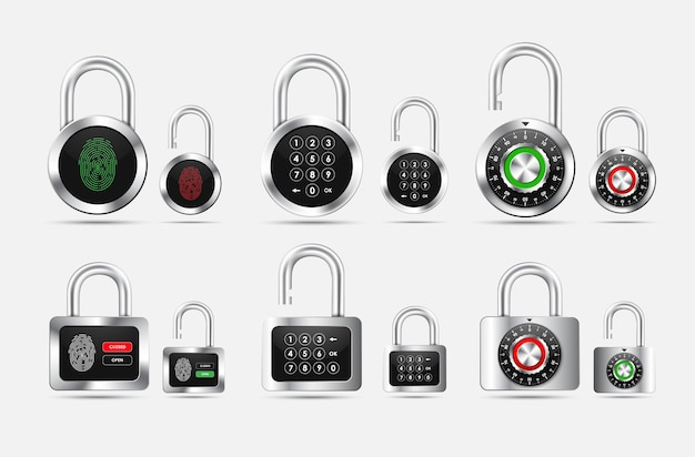 Conjunto de candado redondo y cuadrado, cerrado y abierto con diferentes tipos de protección en forma de cerradura de combinación, código pin y huella dactilar en la esfera negra