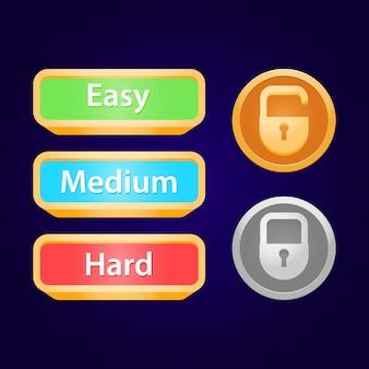 Conjunto de candado ui del juego y dificultad del juego