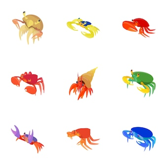 Conjunto de cangrejo, estilo de dibujos animados