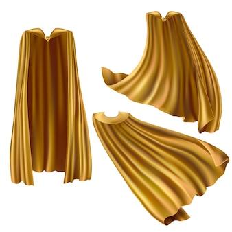 Conjunto de capa dorada de superhéroe