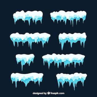 Conjunto de capas de nieve en diseño flat