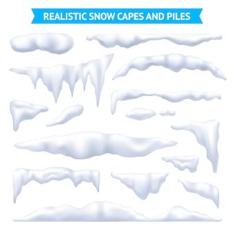 Conjunto de capas y pilas de nieve