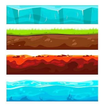 Conjunto de capas de suelo de paisaje