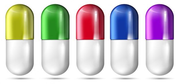 Un conjunto de cápsulas coloridas