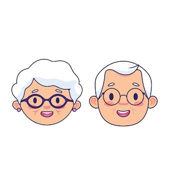 Conjunto de cara de abuelos