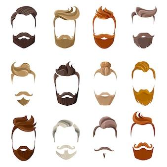 Conjunto de cara de barba y peinados