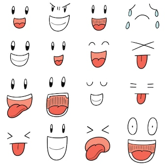 Conjunto de cara de dibujos animados