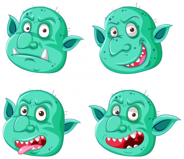 Conjunto de cara de duende o troll verde en diferentes expresiones en estilo de dibujos animados aislado