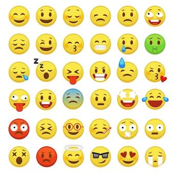 Conjunto de cara de emoji. carácter facial amarillo signo mensaje personas hombre emoción sentimientos chat iconos de dibujos animados