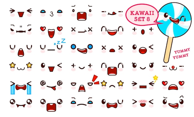 Conjunto de cara de emoticon kawaii lindo y caramelo dulce en un palo kawaii