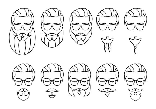 Conjunto de cara de hipster de contorno con bigotes y barbas ilustración vectorial