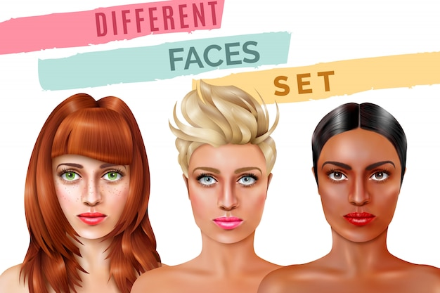 Conjunto de cara modelo
