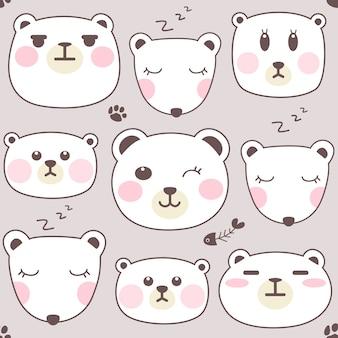 Conjunto de cara de oso polar.