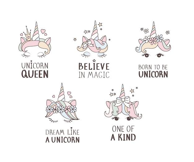 Conjunto de cara de unicornio dibujado a mano. citas.