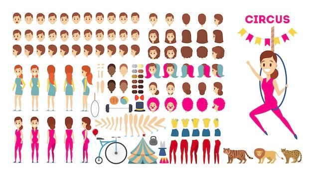 Conjunto de caracteres de acrobat para la animación con varias vistas.