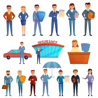 Conjunto de caracteres de agente de seguros, estilo de dibujos animados