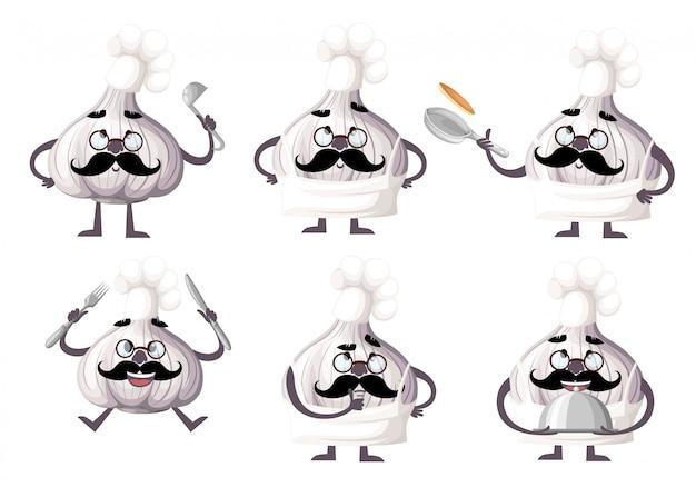 Conjunto de caracteres de ajo. herramientas de cocina de mascota de ajo. el concepto de cocinero. ilustración sobre fondo blanco. página del sitio web y aplicación móvil