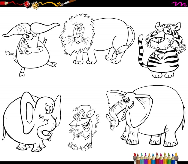 Conjunto De Caracteres De Animales Salvajes Para Colorear Libro