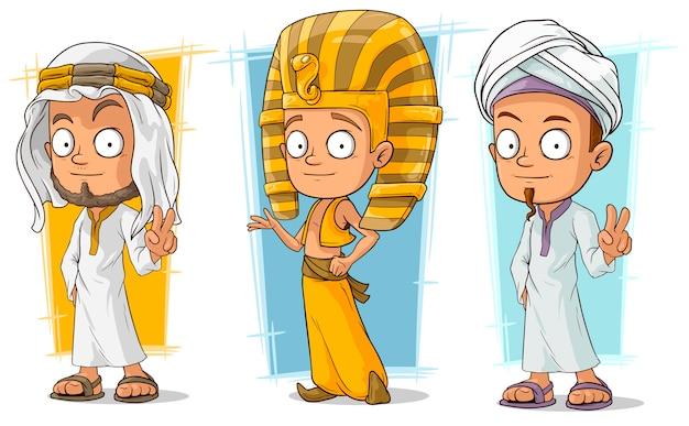 Conjunto de caracteres árabes y egipcios de dibujos animados