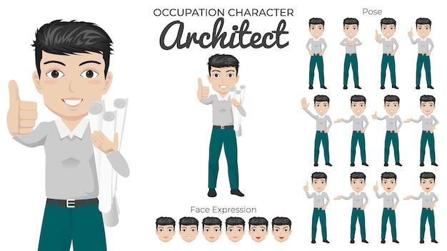Conjunto de caracteres de arquitecto masculino con variedad de poses y expresiones faciales
