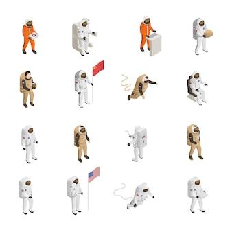 Conjunto de caracteres de astronautas cosmonautas traje espacial