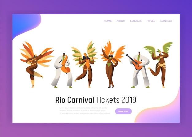 Conjunto de caracteres de bailarina de carnaval de brasil.