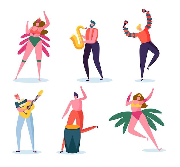 Conjunto de caracteres de la banda de carnaval brasileño.