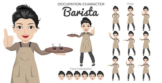 Conjunto de caracteres de barista femenino con variedad de poses y expresiones faciales