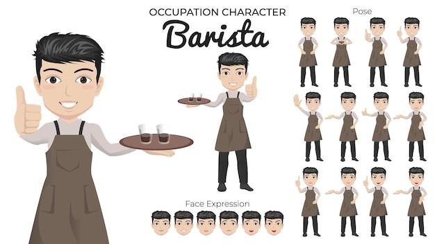 Conjunto de caracteres de barista masculino con variedad de poses y expresiones faciales
