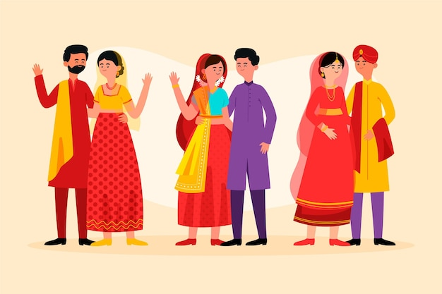 Conjunto de caracteres de boda india