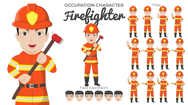 Conjunto de caracteres de bombero masculino con variedad de pose y expresión facial