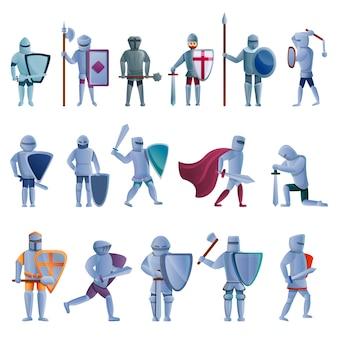 Conjunto de caracteres de caballero, estilo de dibujos animados