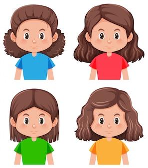 Conjunto de caracteres de cabello moreno.