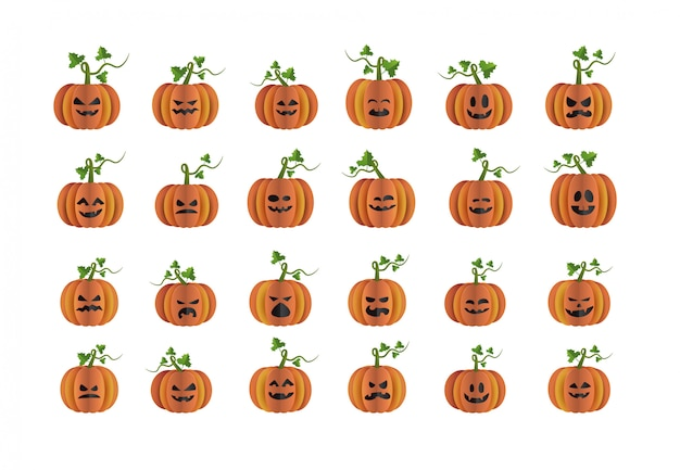 Conjunto de caracteres de calabaza de halloween elemento de estilo de arte de papel