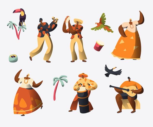 Conjunto de caracteres del carnaval de brasil.