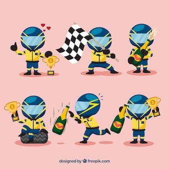 Conjunto de caracteres de carreras de formula 1