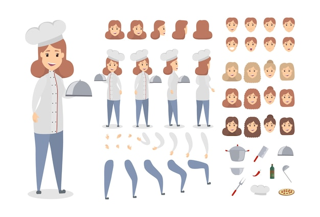 Conjunto de caracteres de chef femenina. poses y emociones.